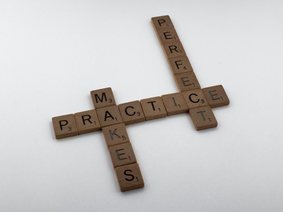 """Scarabeo con la scritta """"la pratica rende perfetti"""""""